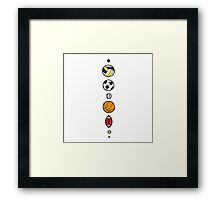 Sports, mostly balls, but colourful Framed Print