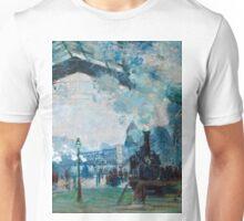 1877-Claude Monet-Arrival of the Normandy Train, Gare Saint-Lazare-59 x 80 Unisex T-Shirt