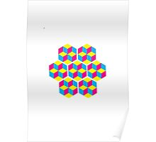 3 Cube CMY Hex Poster