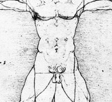 LEONARDO, Da Vinci, The Vitruvian Man, Naked, CIRCLE, c.1485, Accademia, Venice, BLACK Sticker