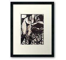 Raw Goth nude, b&w girl Framed Print