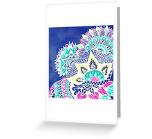 Bohemian navy floral mandala paisley watercolor Greeting Card
