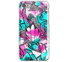 Bright pink teal floral sea paisley doodles iPhone Case/Skin