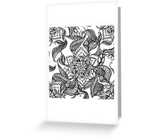 Modern black and white floral mandala illustration Greeting Card
