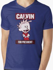 Calvin For President Mens V-Neck T-Shirt