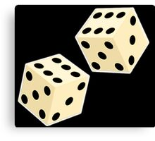 LUCK, LUCKY, DOUBLE SIX, DICE, Throw the Dice, Casino, Game, Gamble, CRAPS, on BLACK Canvas Print