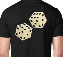 LUCK, LUCKY, DOUBLE SIX, DICE, Throw the Dice, Casino, Game, Gamble, CRAPS, on BLACK Unisex T-Shirt
