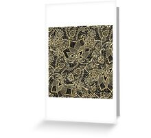Elegant gold black hand drawn floral lace pattern Greeting Card