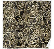 Elegant gold black hand drawn floral lace pattern Poster