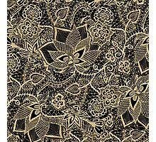 Elegant gold black hand drawn floral lace pattern Photographic Print