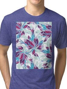 Modern purple turquoise fall floral pattern Tri-blend T-Shirt