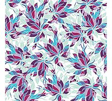 Modern purple turquoise fall floral pattern Photographic Print