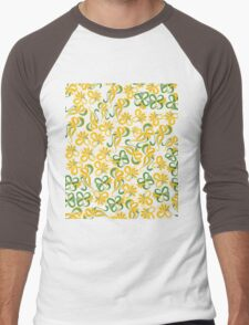 Green Yellow Flowers Men's Baseball ¾ T-Shirt