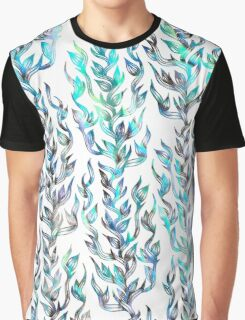Blue abalone hand drawn coral leaf pattern Graphic T-Shirt