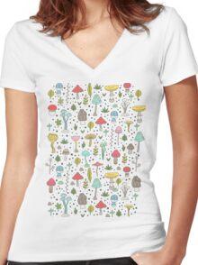 Mushrooms Women's Fitted V-Neck T-Shirt