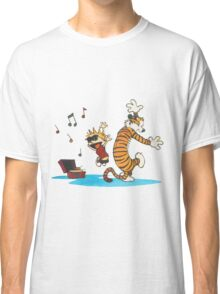 calvin and hobbes dancing with music Classic T-Shirt