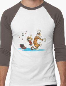 calvin and hobbes dancing with music Men's Baseball ¾ T-Shirt