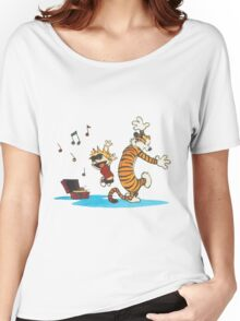 calvin and hobbes dancing with music Women's Relaxed Fit T-Shirt