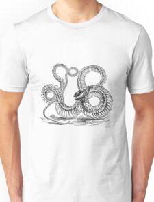 Vintage Boa Constrictor Snake Skeleton Illustration Retro 1800s Black and White Snakes  Unisex T-Shirt