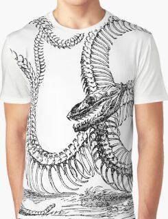 Vintage Boa Constrictor Snake Skeleton Illustration Retro 1800s Black and White Snakes  Graphic T-Shirt