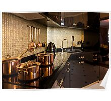 copper pans on the stove Poster