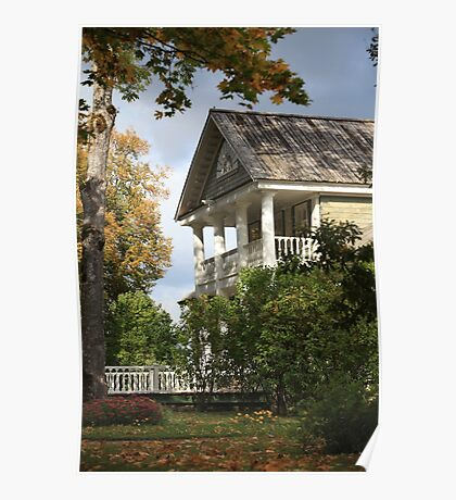 rural house with columns in autumn Poster