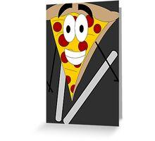Skiing Pizza Greeting Card