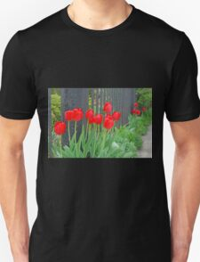 Red Tulips by the Fence T-Shirt