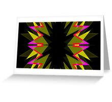 Hardcor Black Yellow Star Burst NeoGeo Art Greeting Card