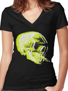Van Gogh Skull with burning cigarette remixed x Women's Fitted V-Neck T-Shirt