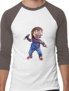 chucky, doll, hell, evil, horror, chukky, chuky,  Men's Baseball ¾ T-Shirt