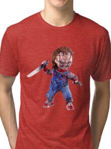 chucky, doll, hell, evil, horror, chukky, chuky,  Tri-blend T-Shirt