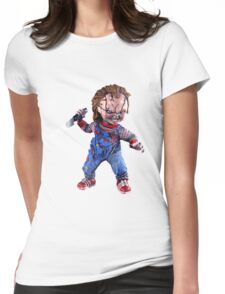 chucky, doll, hell, evil, horror, chukky, chuky,  Womens Fitted T-Shirt