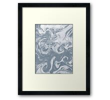 Shiori - spilled ink abstract water wave pantone blue marble grey monochromatic map nature ocean Framed Print