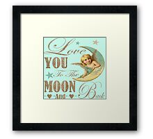 Angel moon typography love you to the moon and back Framed Print