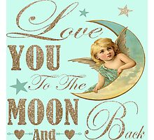 Angel moon typography love you to the moon and back Photographic Print