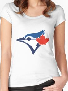 Toronto Blue Jays TEAM LOGO Women's Fitted Scoop T-Shirt