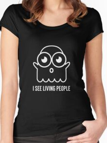Spooky Ghost See Living People Print Women's Fitted Scoop T-Shirt
