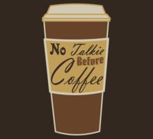cartoon paper cup typography no talkie before coffee by lfang77