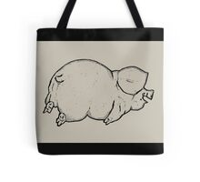 Happy Pig Lying on Belly, Outline Drawing  Tote Bag