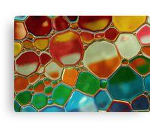 multi-colour oil bubbles on water Canvas Print