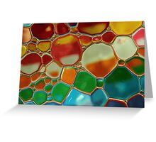 multi-colour oil bubbles on water Greeting Card