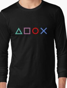 Gamer Pattern Black Long Sleeve T-Shirt