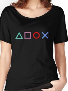 Gamer Pattern Black Women's Relaxed Fit T-Shirt