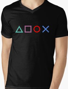 Gamer Pattern Black Mens V-Neck T-Shirt