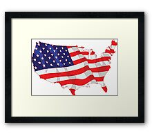 American Flag Map of United States Framed Print