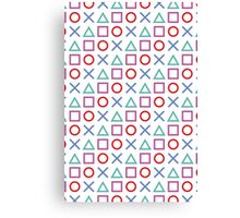 Gamer Pattern White Canvas Print
