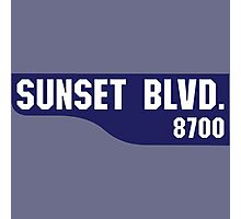 Sunset Boulevard, Old-Style Street Sign, Los Angeles, California Photographic Print
