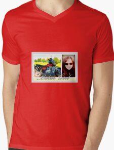 Biker Girl Mens V-Neck T-Shirt