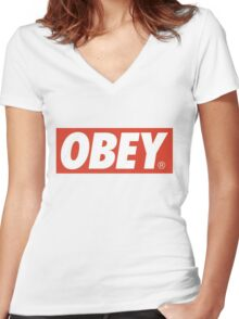 Obey Logo Women's Fitted V-Neck T-Shirt